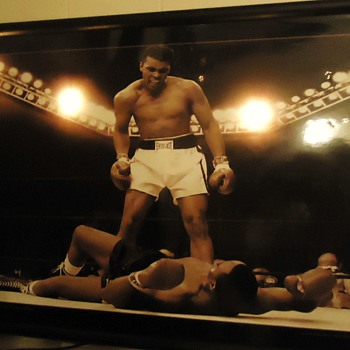 "Best sports photo of the 20th century,  I think! and it lights up!  ""What is my name?"" Ali says to Sonny Liston"