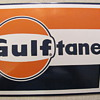 """LARGE"" LOGO GULFTANE PORCELAIN GAS PUMP SIGN"