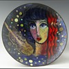 Art Deco Enamel on Metal Footed Bowl by Virgil Cantini