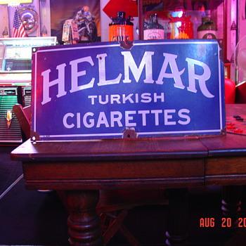Helmar Turkish Cigaretts Porcelain Sign...Two Colors - Tobacciana