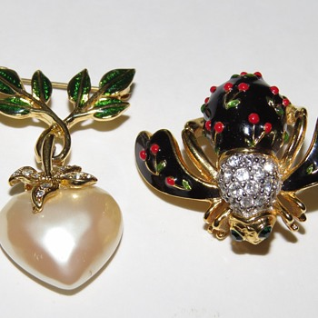Joan Rivers Bee and Heart Brooches - Costume Jewelry