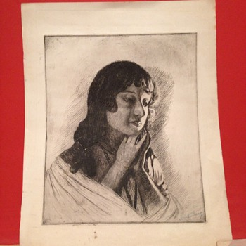 A nice drawing of a women. Signed by ?? - Fine Art