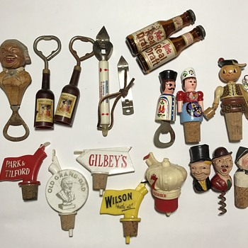 Antique and Vintage Barware Bottle Stoppers Openers Corkscrew  - Bottles