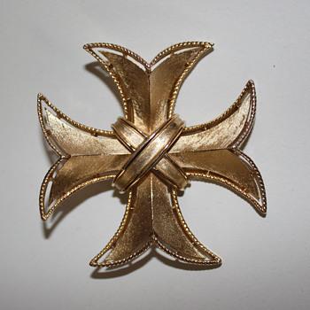 Crown Trifari Maltese Cross Pin
