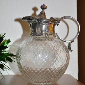 Victorian glass jug with pewter top - Glassware