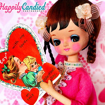 Vintage 1960's-1970's Japanese Pink Hekinan Doll (aka Pose Doll & Bradley Doll) - Dolls