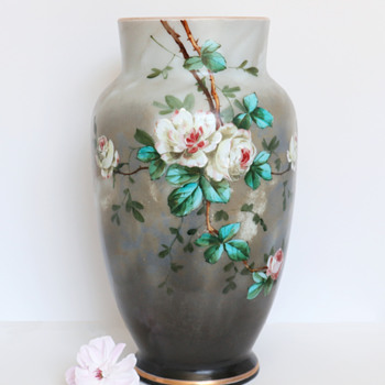 Enameled Baccarat Opaline Vase with Roses - Art Glass