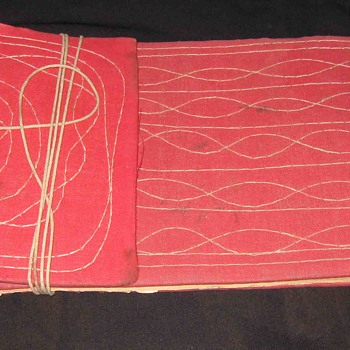 Vintage Old Ancient Indian Tying Thread Scriptures Type Blank Book with Dried Leaf - Books