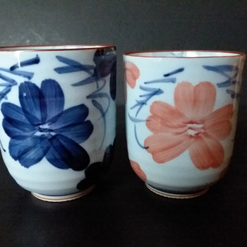 Mystery porcelain Japanese meoto yunomi - Asian