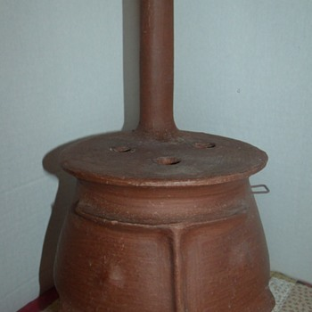 Red Clay Pot Belly Stove