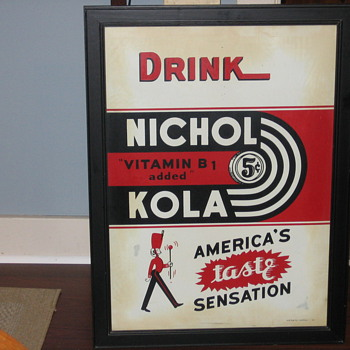 nichol kola tin sign  dated 6-41