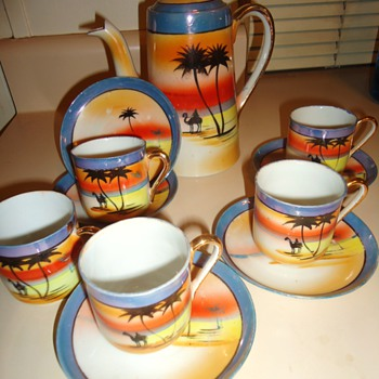 Japan tea set? Yes but camels? From thrift store. Yellow tagged 1/2 off $7.50 - Asian