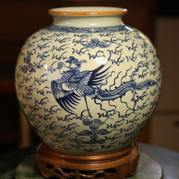 Chinese Vase with Headless Phoenix's - Pottery