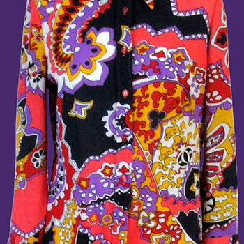 1960s TREVIRA2000 Psychedelic Woman's Shirt - Womens Clothing