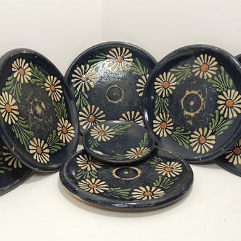 Set of 7 Terracotta? Redware? Plates - Kitchen