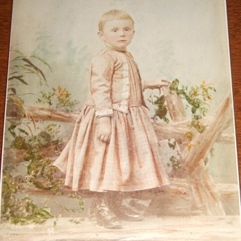 Boy in Dress Cabinet Card with expert artist tinting c. 1885 - Photographs