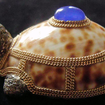 Orfaley Cowrie Shell & Silver Turtle Brooch - Costume Jewelry