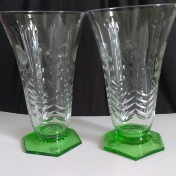 Cut crystal tea/ water glass green base - Glassware