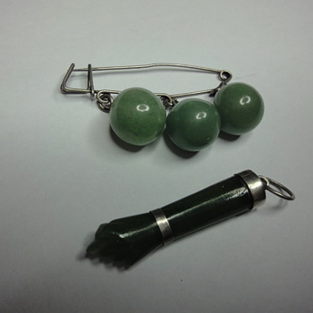 Silver Jade brooch and hand pendant - Art Deco