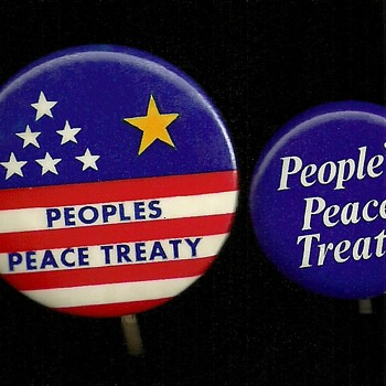 Two 1970/71 Vietnam People's Peace Treaty Pinback Button's