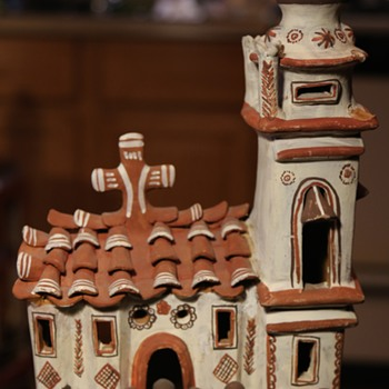 Large Pottery Church with Parishioners from Mexico - Pottery