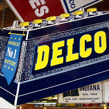 Delco battery sign - Petroliana