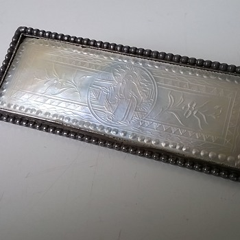 Chinese Carved MOP Gaming Chip Brooch w/Silver Mount Thrift Shop Find - Fine Jewelry