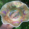 Very Rare Fenton Peach Opalescent Dragon and Lotus Bowl