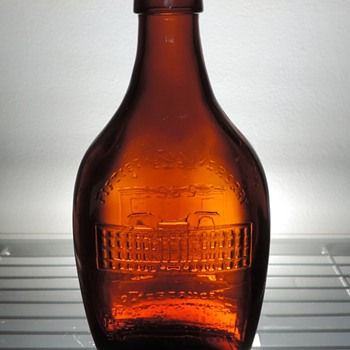 1969 Anchor Hocking Salem County Memorial Hospital New Jersey Bottle Flask 50th Anniversary Embossed Glass Amber Brown - Bottles