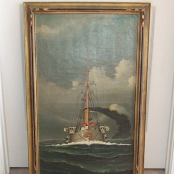 Oil Painting of British Battleship c. 1901 - Military and Wartime