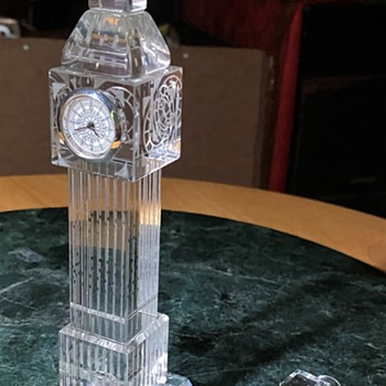 Etched Crystal Big Ben and Tugboat - Christmas