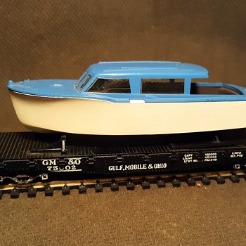 Athearn 40' Flat Car Gulf, Mobile & Ohio With Boat 1960s HO Gauge - Model Trains
