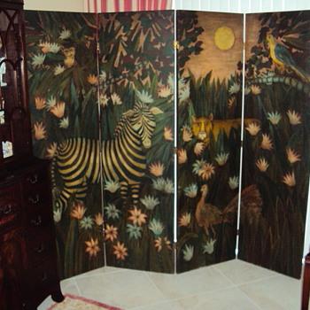 Antique Screen, Oil on Cavvas - Furniture