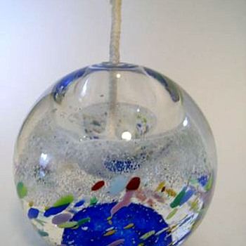 """ GLASS RUBS "" (Bohemian) OIL BURNER - GLASS  - Art Glass"