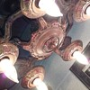 1930's-ish fancy five light 'exposed bulb' ceiling fixture
