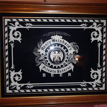 1977 numbered henry Weinhard Private Reserve beer mirror  - Breweriana