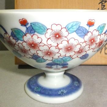 Imaemon XIV Iro-Nabeshima porcelain stem cup, Japan - Asian