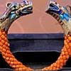 Antique Coral enameled Silver Dragon bead bangle
