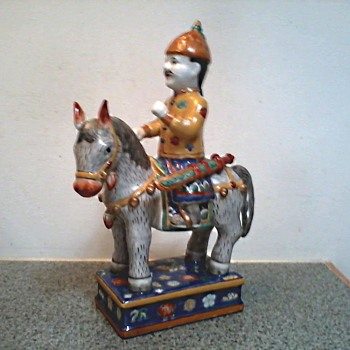 Chinese Porcelain Horse and Rider Figure / Unknown Maker and Age - Asian
