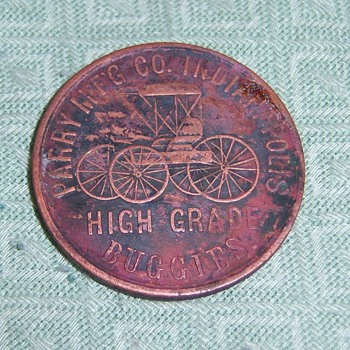 VINTAGE TOKEN FROM THE 1800'S Indianapolis Parry MFG Co. HIGH GRADE BUGGIES - US Coins