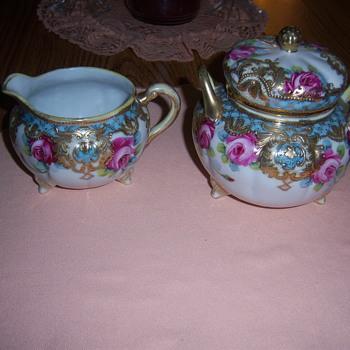 Nippon Sugar & Creamer set - blue maple leaf