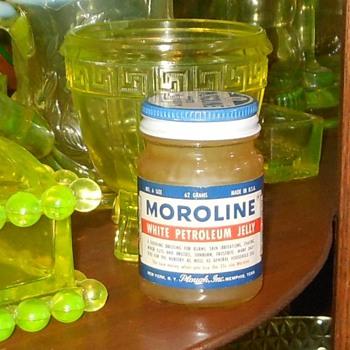Vintage Moroline Petroleum Jelly Jar - Bottles
