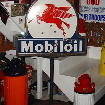 Mobiloil...Porcelain Double Sided Pedestal Sign...Three Colors - Signs
