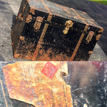 Old trunk on the railroad tag says in 48 - Furniture