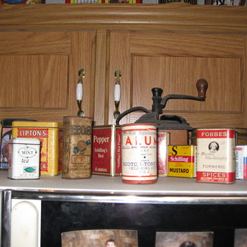 Spice Tins Tabacco Tins and Misc food tins