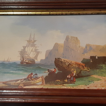 seascape print antique walnut frame - Posters and Prints