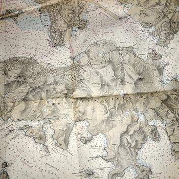 1949 Map of Hong Kong Harbor - Maritime Map - updated 1964 - Paper