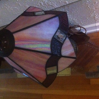 1967 L&LWMC stained glass table lamp