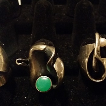 three sterling  marked rings - Costume Jewelry