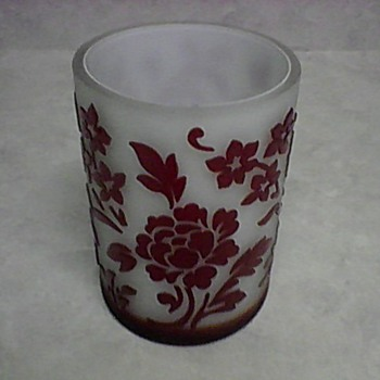 FLORAL CAMEO GLASS VASE - Art Glass